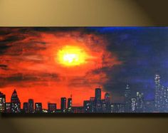 ORIGINAL Art Oil Painting sunset City Scape view, Large Canvas painting New York City, Urban Art abstract Acrylic purple New York Painting, City Painting, Ville New York, Urbane Kunst, Office Art, Canvas Art, Large Canvas, Painting Canvas, City Art