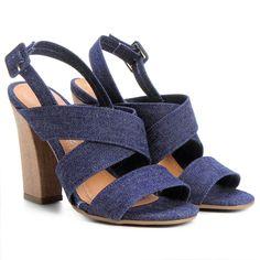 Sandália Zatz Tiras Cruzadas Jeans | Zattini