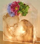 any picture printed on  transparency sheet. there are great craft ideas on  this site