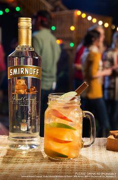 Caramel Spiked Cider - Just mix 1.5 cups Smirnoff Kissed Caramel, 4 cups Apple Cider, 4oz Lemon Juice, and 2oz Grenadine. Serves 8.