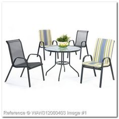 Joint Compound Terrasse oder Garten runden Tisch und 4 Stühle KA203GM. Terrassenmöbel und Strand: Set aus Metall Tische und
