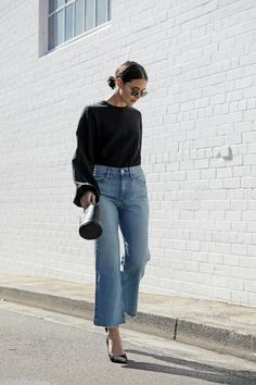 {Black and cropped wide denim.}