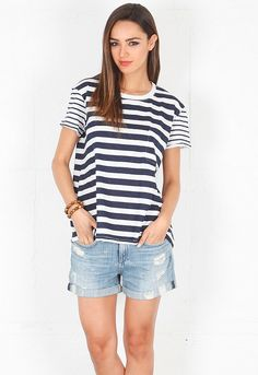TEXTILE Elizabeth and James Multi Stripe Bowery Tee in White/Navy  $92