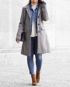 Grey Wool Coat, Denim Jacket, White Turtleneck, Denim Skinny Jeans, Camel Ankle Boots