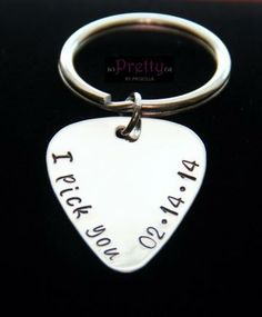 "Anniversary Gift Custom Guitar Pick key ring- Unique Gift for Boyfriend/Husband-Hand Stamped Guitar Pick - ""I pick you"" & anniversary date by PrettyByPriscilla Unique Gifts For Boyfriend, Valentines Gifts For Boyfriend, Boyfriend Anniversary Gifts, Gifts For Your Boyfriend, Valentine Day Gifts, Gifts For Him, Ideal Boyfriend, Boyfriend Stuff, Bf Gifts"