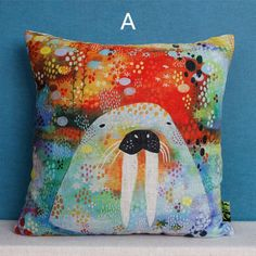 Colorful walrus decorative pillows for couch hand painted animal style sofa cushions