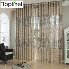 Curtinas de janela de luxo modernas de qualidade moda 3 cores para sala de estar puras tule acabadas blindagem em estoque