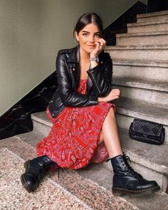 Dr Martens Pascal Boots dress and biker jacket outfit. - Source by sgastl - Summer Dress Outfits, Skirt Outfits, Winter Outfits, Dress Summer, Spring Outfits, Look Fashion, Urban Fashion, Fashion Mode, Fast Fashion