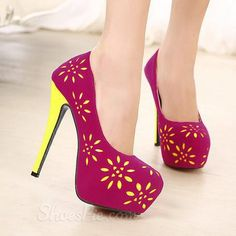 cool New Arrival Sweet Suede Flower-Print Platform Stiletto Heels