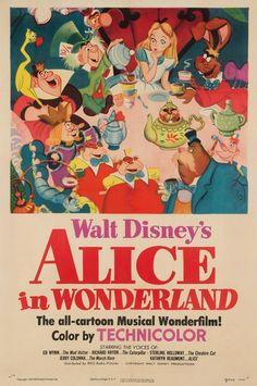 Alice In Wonderland 1951 Us Film / Movie Poster Original Vintage, Disney Vintage Disney Posters, Disney Movie Posters, Iconic Movie Posters, Movie Poster Art, Vintage Cartoon, Vintage Movies, Poster Wall, Poster Prints, Room Posters
