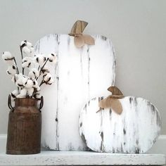 This listing is just for the large wood pumpkin. Measurements Large pumpkin - 23 x Small pumpkin - x 13 All items are made with rustic wood. Pumpkins and stained walnut and have a white distressed finish. Pumpkins are embellished with twine and b Farmhouse Halloween, Halloween Home Decor, Fall Home Decor, Fall Halloween, Wood Pumpkins, Fall Pumpkins, Autumn Decorating, Porch Decorating, Decorating Ideas