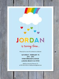 RAINBOW Party Invitation  Printable File  Personalized