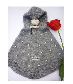 ALPACA WOOL Baby snowflakes poncho with hood, Hand knit, soft gray,baby, boy, girl, christmas gift, Febress