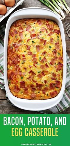 Bacon, Potato, and Egg Casserole The perfect breakfast recipe with eggs, bacon, and potatoes! This easy casserole can be prepared ahead of time and is a real crowd-pleaser. It is the best Christmas recipe that is easy to make. Save this pin for later! Easy Brunch Recipes, Easy Holiday Recipes, Egg Recipes For Breakfast, Breakfast Dishes, Egg Recipes For Dinner, Breakfast Potatoes, Recipes For Eggs, Simple Egg Recipes, Meals With Eggs