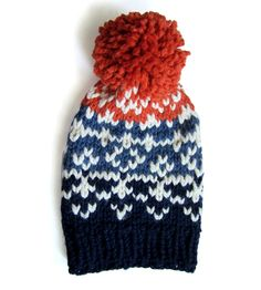 Blue & Orange Wool Pom Pom Hat | Women's Bags & Accessories | Claire Verity | Scoutmob Shoppe | Product Detail