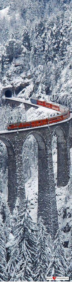 Landwasser Viaduct, Graubünden, Switzerland. Picture adapted to Pinterest by iLoveSwissMade