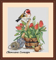 Gallery.ru / Птичка с оранжевыми цветами - Схемы с птицами и животными (платно) - Sichkar