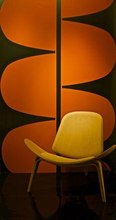 Mod Design / Orange / wall art / wall design / Chair / Living Room / 60's