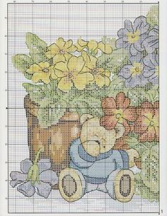 Gallery.ru / Фото #43 - 81 - mila29 Cross Stitch Charts, Cross Stitch Patterns, Bear Design, Cross Stitch Flowers, Basic Colors, Cross Stitching, Needlepoint, Medium, Needlework