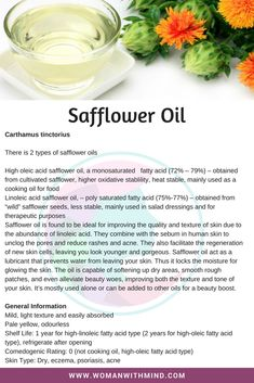 Safflower Oil General Information and Beauty DIY Essential Oil Perfume, Essential Oil Uses, Healing Oils, Aromatherapy Oils, Herbal Remedies, Natural Remedies, Carrier Oils For Skin, Natural Oils For Skin, Massage