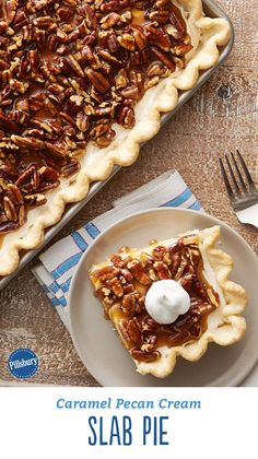 This crowd-friendly slab pie is the easiest, most impressive way we know to feed guests. With gooey caramel and a toasted pecan topping, it's everything you love about traditional pecan pie, but with an added creamy layer of sweetness that ups the ante on the holidays! Expert tip: Caramel sauce varies in thickness and consistency. Be sure to use room temperature caramel for best results. This recipe uses Smuckers™ caramel topping from 12.25-oz jar.