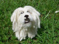 Needle felted white Hungarian Puli, soft dog plushie sculpture. $60.00, via Etsy.