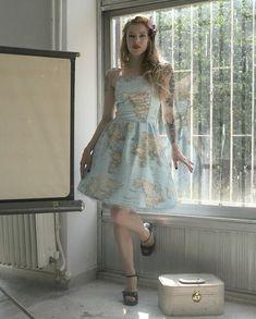 Welt Karte Kleid, gedruckt Baumwolle schulterfreies Sommerkleid, Atlas-Kleid…