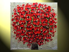 Original Abstract Palette Knife Painting Red by ChristineKrainock, $245.00