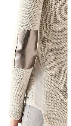 Maison Scotch Rib Knit Sweater must recreate without the patches. love love the chiffon insert! Looks Style, Style Me, Knit Fashion, Womens Fashion, Moda Crochet, Winter Mode, Mode Inspiration, Mode Style, Refashion