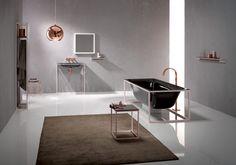 Freistehende Badewanne - modernes ausgefallenes Badezimmer - schwarz und kupfer - minimalistisch - Bette