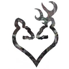 """The Camouflage Browning Buck and Doe Heart, or """"Buck-Heart"""", decal features a Browning Buck and Doe oriented facing each other and connected at the bottom to cr"""