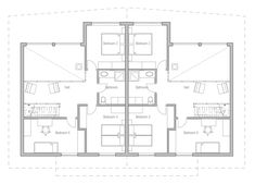 house design semi-detached-house-plan-ch120d 5 | duplex house ...