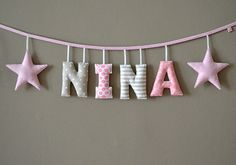 Geschenk zur Geburt / Taufe: Namensgirlande mit von MasumiBerlin Gift for childbirth / baptism: name garland with by MasumiBerlin The post Gift for childbirth / baptism: name garland with by MasumiBerlin appeared first on Deco.Gift for Birthday / Bap Sewing For Kids, Baby Sewing, Diy For Kids, Crafts For Kids, Baby Crafts, Diy And Crafts, Star Gift, Birth Gift, Baby Room Decor