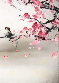Art Floral, Cherry Blossom Painting, Cherry Blossom Wallpaper, Art Chinois, Art Asiatique, Art Japonais, Japanese Painting, Sakura Painting, Chinese Painting Flowers