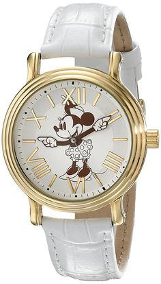 Disney Women's W001859 Minnie Mouse Analog Display Analog Quartz White Watch -- You can find more details by visiting the image link.