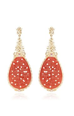 Carved Ruby And Diamond Earrings by Bochic for Preorder on Moda Operandi