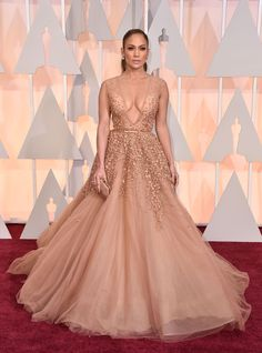 Jennifer Lopez in a nude beaded Elie Saab gown at the 2015 Oscars