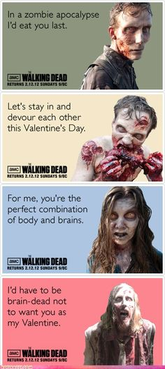 """✿ """"Walking Dead"""" Valentine's Day Cards ~ http://deliriouslyimaginative.tumblr.com/post/17178753585 ✿"""