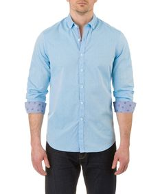 Report Collection Long Sleeve Diamond Dobby Sport Shirt in Blue