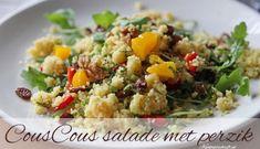 couscous salade met perzik en rozijnen Salade Healthy, Fried Rice, Barbecue, Potato Salad, Grains, Food And Drink, Veggies, Healthy Recipes, Cooking