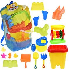 #beachaccessoriesstore Kids Beach Sand Toy Set in Mesh Bag with Castle Bucket, Sand Wheel Triple, Watering Can,… #beachaccessoriesstore