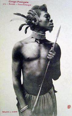   Banziri man. Haut-Oubangui, French Congo. Post stamped 1914