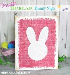 Burlap Bunny Sign