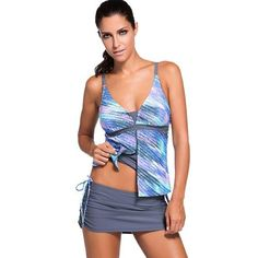 CHICUU - CHICUU Contrast Color Spaghetti Strap Padded Women's Tankini - AdoreWe.com