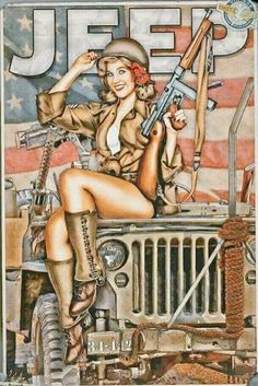 Best pinup ever!! Military, Jeep, Guns and Curves!!