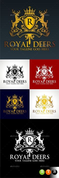 Royal Deer Crest — Vector EPS #classy #emblem • Available here → https://graphicriver.net/item/royal-deer-crest/10280534?ref=pxcr
