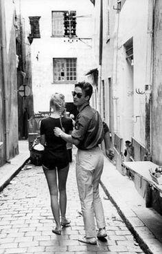"missbrigittebardot: "" Brigitte Bardot & Jacques Charrier in St Tropez, 1959 ""<<< Tell me that doesn't look like a younger Sebastian Stan! Brigitte Bardot, Bridget Bardot, Vintage Vibes, Vintage Love, Vintage Couples, Vintage Italy, Classic Hollywood, Old Hollywood, Old Photos"