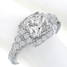 Art Deco 1.06ct Old Mine Cut Diamond Platinum Engagement Ring - See more at: http://www.newyorkestatejewelry.com/engagement-rings/antique--1.06ct-diamond-engagement-ring-/23497/3/item#sthash.LxpjFBwB.dpuf