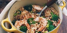 ONE POT PEST SHRIMP so easy!! 1 c quick-cooking barley  1 pkg bagged broccoli florets  1¼ lb uncooked peeled med shrimp   ½ c sun-dried tomato pesto  BRING 2 cups water to a boil in a pot  Stir barley, cover, cook over med heat for 5 min PLACE broccoli florets on top of barley, cover cook 5 minutes  STIR in shrimp and 1 or 2 tsp vinegar, cover,cook 2 min. Remove from heat and let stand, covered,til shrimp are done, about 4 min. STIR in sun-dried tomato pesto, salt and  black pepper to taste.