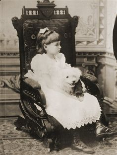 Helen Keller as a child with her dog in 1887